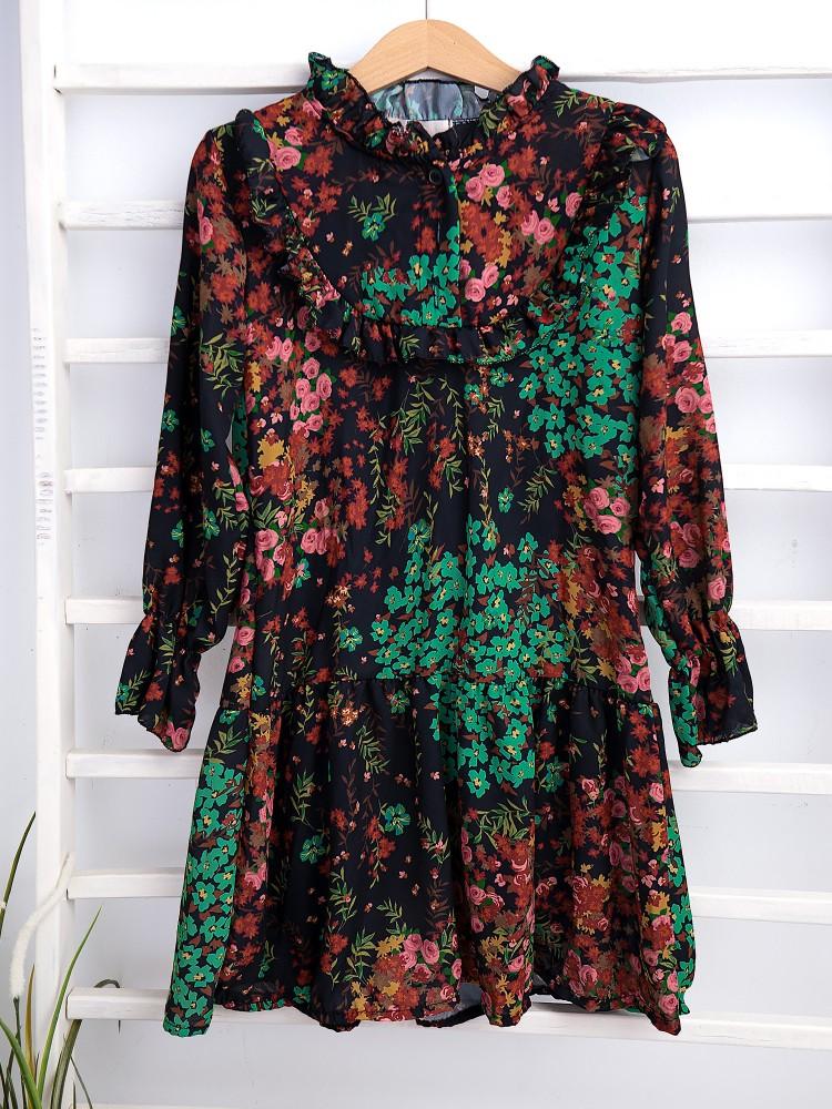 PALMETO FLORAL CHIFFON DRESS